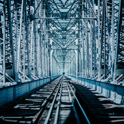 Alloy Architecture Bridge Bridge - Man Made Structure Built Structure Connection Day Diminishing Perspective Direction Fuel And Power Generation Industry Iron - Metal Metal Nature No People Outdoors Rail Transportation Railroad Track Steel The Way Forward Track Transportation