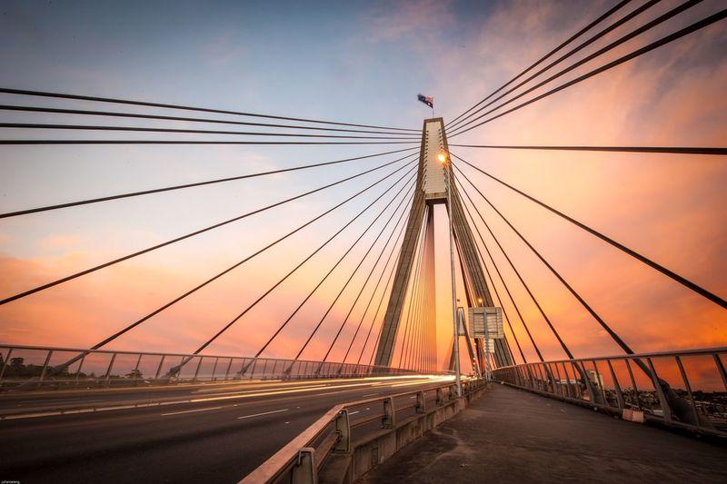 Anzac Bridge, Sydney, Australia. ANZAC Anzac Day Australia Bridge\ Landscape Landscape_Collection Sunrise Sunrise_Collection Sunset Sunset #sun #clouds #skylovers #sky #nature #beautifulinnature #naturalbeauty #photography #landscape The Architect - 2017 EyeEm Awards HUAWEI Photo Award: After Dark