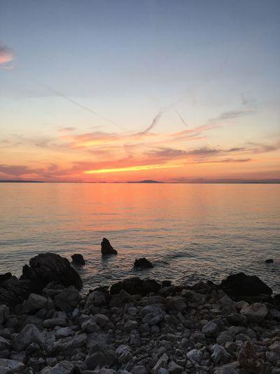 Croatia Pag Island EyeEm Selects Sea Sunset Water Sky Scenics - Nature Beauty In Nature Beach Horizon Orange Color