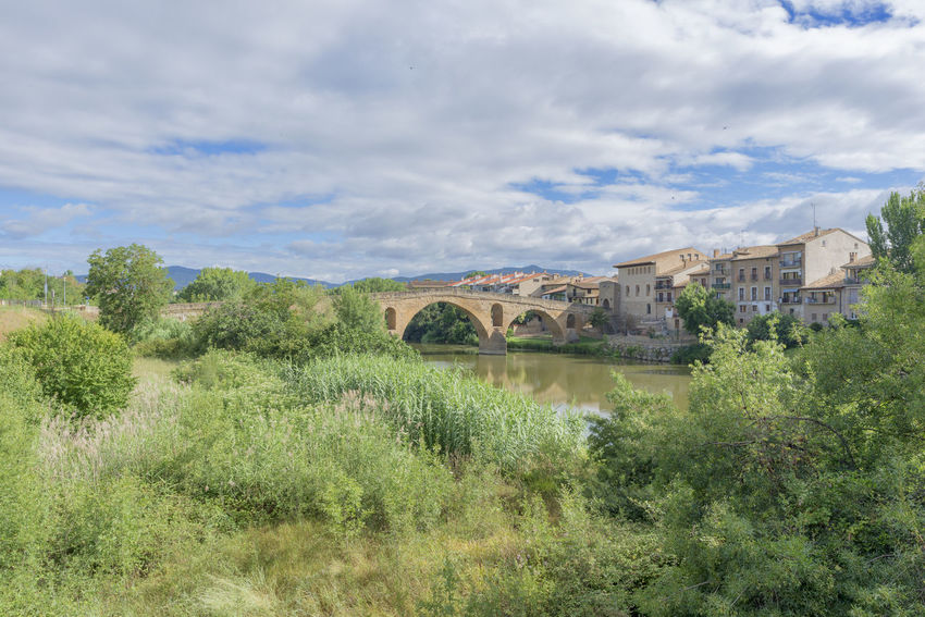 Arch Architecture Beauty In Nature Bridge - Man Made Structure Building Exterior Built Structure Camino De Santiago Cloud - Sky Connection Day Grass Growth History Nature Navarra No People Outdoors Plant Puente La Reina Scenics Sky Tree Water