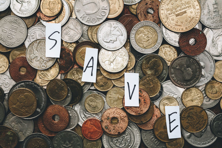Save money and investment concept with many old coin Business Life Abundance Account Business Cash Close Up Coins Concept Currency Finance Indoors  Investment Large Group Of Objects Money No People Pattern Save Variation Wealth