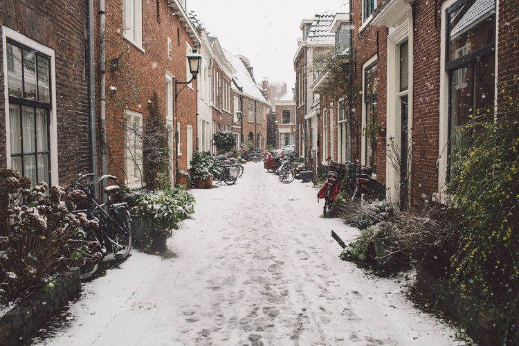 Frozen footpath amidst buildings against sky
