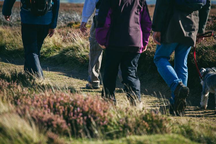 Low section of people walking on field