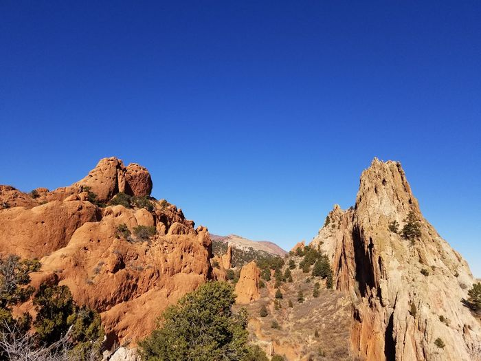 Garden of the Gods on what might just be the clearest day ever. Garden Of The Gods EyeEmNewHere No Filter EyeEm Selects Rock - Object Nature Rock Formation Tranquility Beauty In Nature Travel Destinations Outdoors Landscape No People Sky Day Clear Sky Desert Mountain Tranquil Scene Blue
