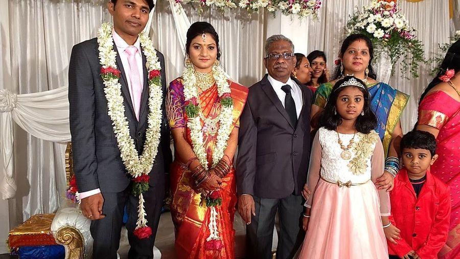 marriage reception photo with bride & bridegroom, relatives. Wedding Ceremony
