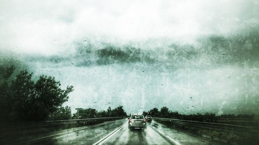Transportation Car Road Land Vehicle Mode Of Transport Windshield The Way Forward Car Point Of View Car Interior Street Day Wet RainDrop Driving Water No People Tree Nature Sky Outdoors