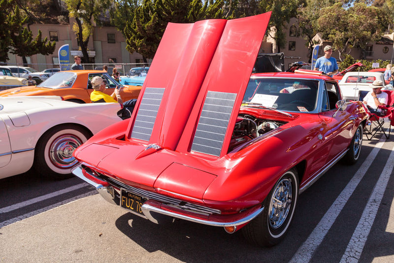 Laguna Beach, CA, USA - October 2, 2016: Red 1963 Chevrolet Corvette owned by Tim and Gale Osborn and displayed at the Rotary Club of Laguna Beach 2016 Classic Car Show. Editorial use. 1963 Archival Car Car Show Chevrolet Corvette Chevy Classic Car Classic Car Show Corvette Day Laguna Beach, CA Land Vehicle No People Old Car Outdoors Sports Car Transportation Vintage Car