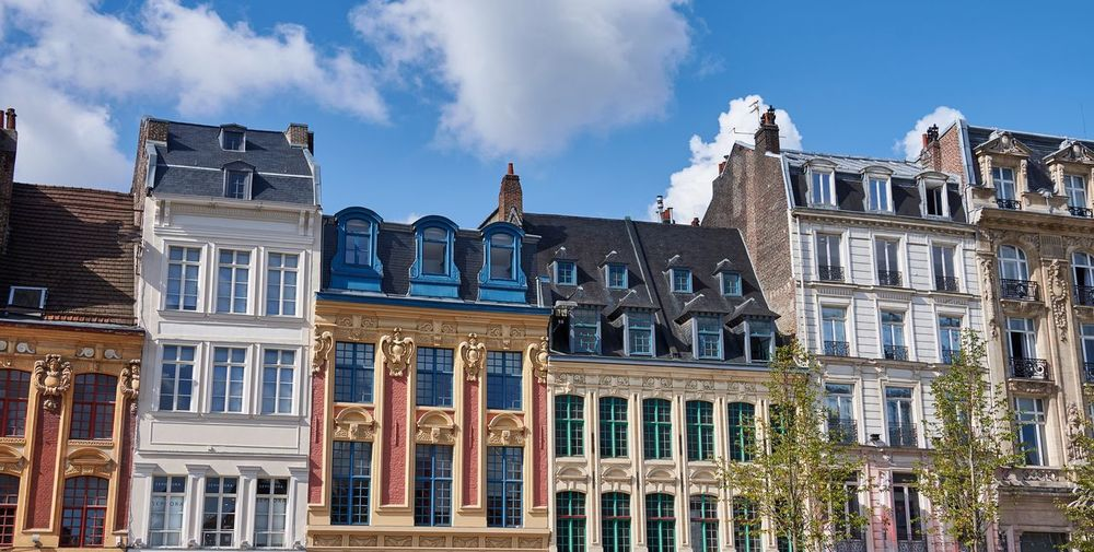 Lille, France (September 2017) Slateroof Landmark Townhouse Façade Sculpture Tiles Roof Urban Street Historical Building Historic Architecture Lille France Architecture Building Exterior Sky Built Structure Window History No People Outdoors Cloud - Sky