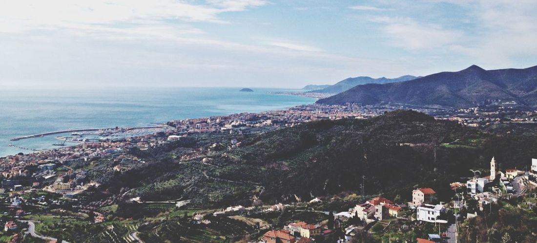 Enjoying The Sun Taking Photos Panorama Italian Riviera