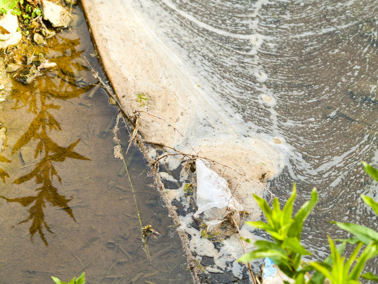 Close-up Contamination Damage Damaged Dirt Dirty Dirty River Dirty Water  Environment Environmental Damage Environmental Issues Garbage Leaf Nature No People Outdoors Polluted Pollution Pollution In My World Sadness Trash Water Water Contamination