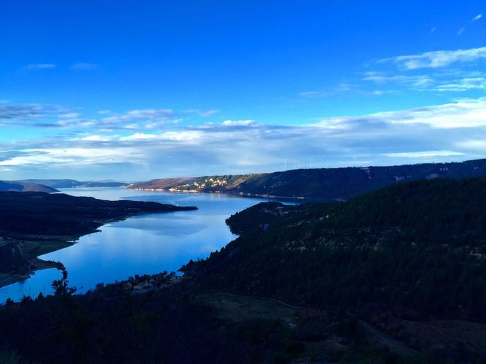 Sky Nature Scenics Beauty In Nature No People Tranquility Tranquil Scene Landscape Mountain Outdoors Sea Water Cloud - Sky Blue Day Lake Lake View Verdon Verdun Gorge Beauty In Nature Landscape_Collection Landscapes Blue Sky Blue