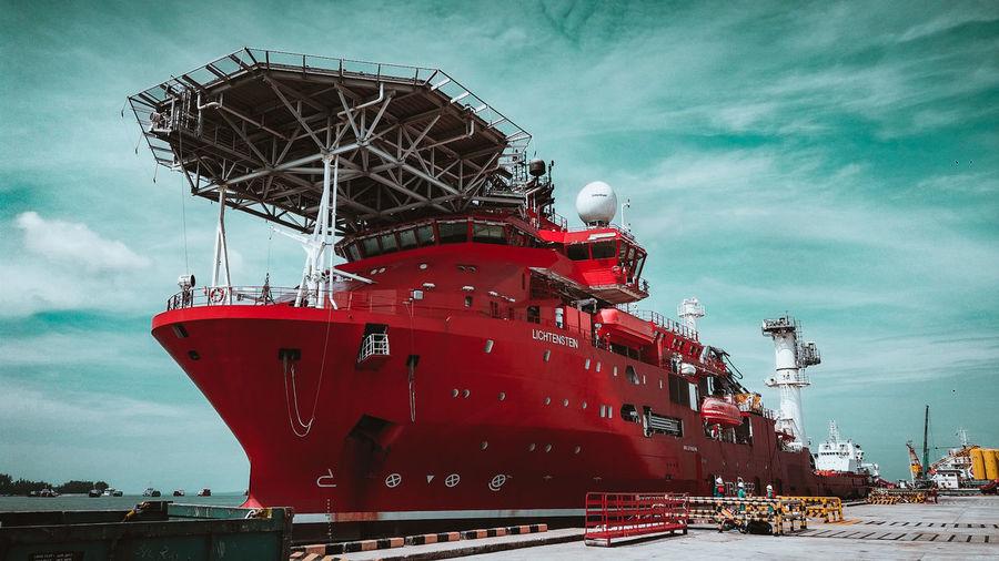 the sea's Red Lychee Vessel Red Jetty Longside Docked Ship Murphy RedTagOffshore Lichtenstein