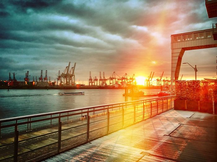 Altonaer Kaispeicher Cloud - Sky Commercial Dock Container Terminal Day Elbe River Hamburg Harbour Industry Nature No People Outdoors Sky Sunset