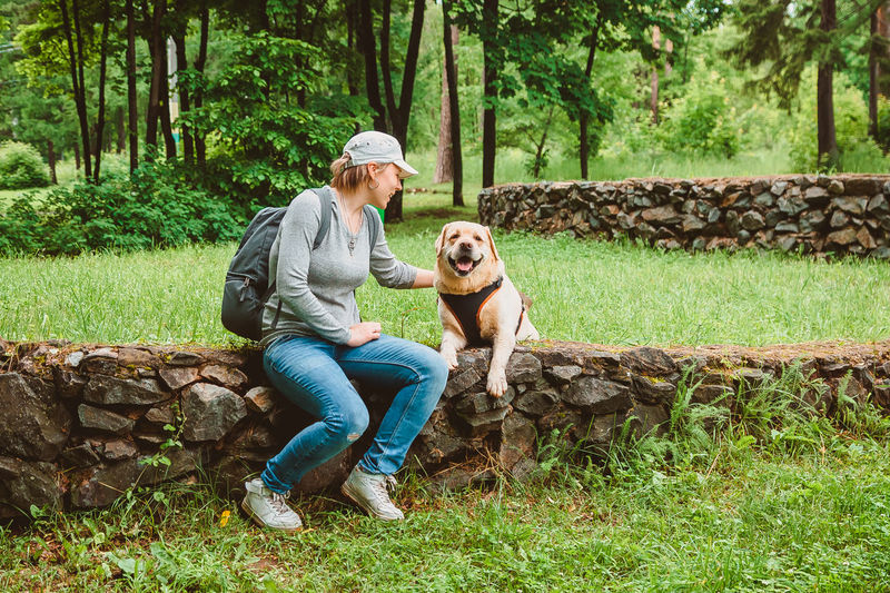 A girl with a backpack is sitting on the lawn stroking a labrador retriever and smiling