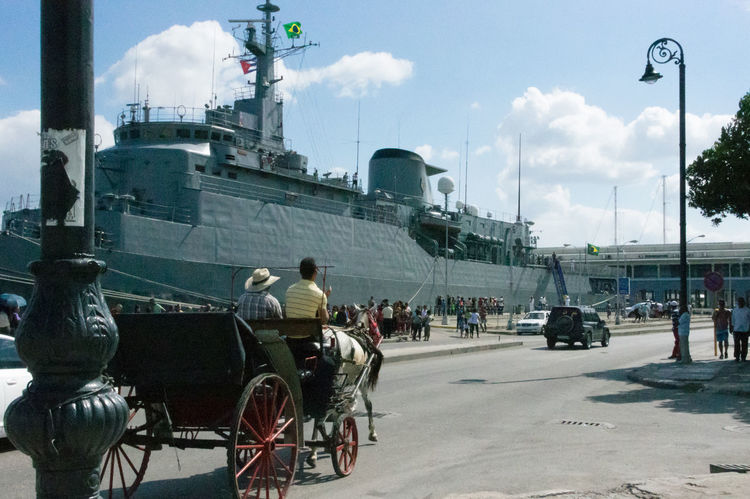 Brasilian War ship visits Havana; Cuban people can visit the ship. A last sign of the Brasilian - Cuban Friendship Adult Cloud - Sky Cuba Cuba Collection Day Horse Carriage Lamp Post Mode Of Transport Nautical Vessel Outdoors People Sky Transportation Travelling Photography
