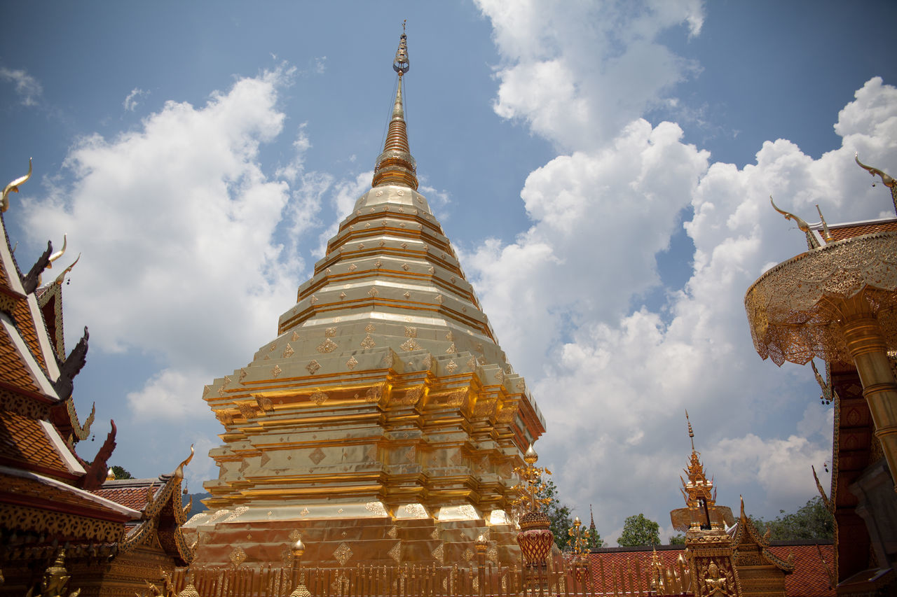 Low Angle View Of Wat Phrathat Doi Suthep Against Sky