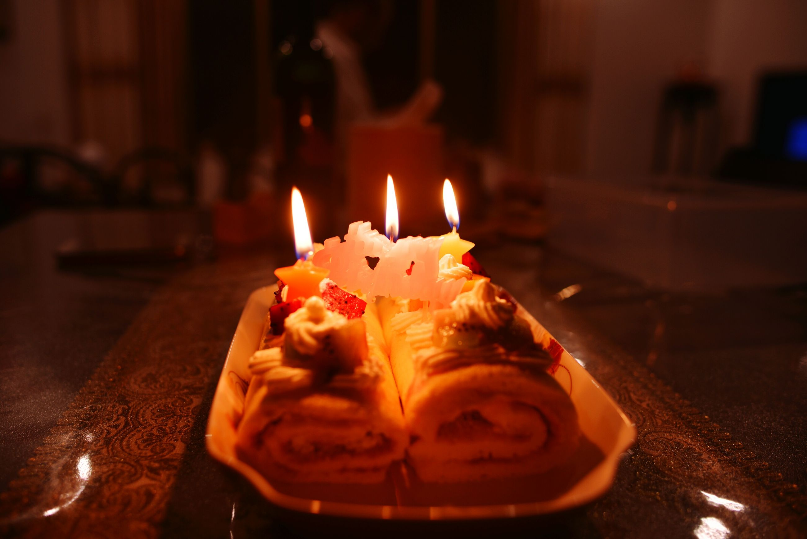 burning, flame, fire - natural phenomenon, night, close-up, heat - temperature, focus on foreground, illuminated, indoors, candle, glowing, fire, sweet food, selective focus, table, celebration, no people, art and craft, still life, creativity