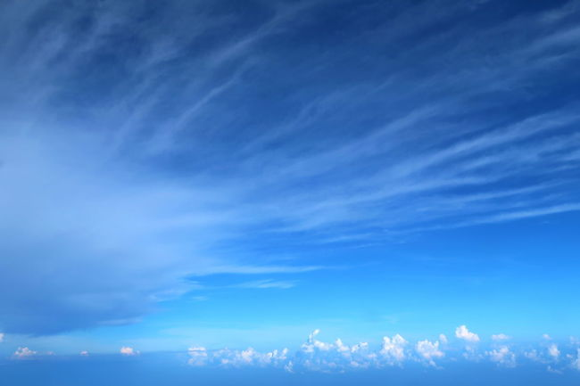 Beauty In Nature Blue Blue Sky Cloud - Sky Cloudscape From An Airplane Window Shape Of Clouds Sky Tranquil Scene