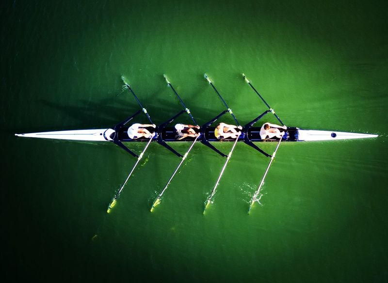 Rowing Boat Aviron Filippi Boats Green Color Outdoors Water Nautical Vessel Teamwork Avion Aerial View Aerial Shot DJI Mavic Pro Dronestagram Dronephotography The Great Outdoors - 2017 EyeEm Awards Rowing The Great Outdoors - 2018 EyeEm Awards