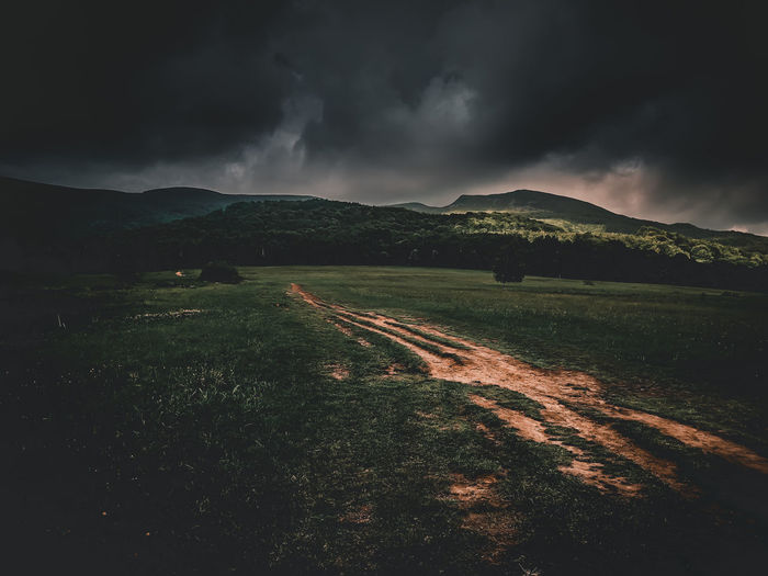 Tarnica Peak Mountain Landscape Grass Non-urban Scene Outdoors Mountain Range Environment Sky Cloud - Sky Beauty In Nature Scenics - Nature Land Nature Bieszczady Path Trail Poland Polishmountains Moody Sky Darksky Traveler Tarnica Sunset No People Storm