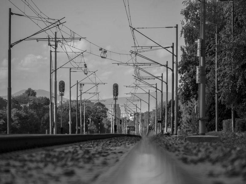 Black & White Rail Station Rails Zagreb, Croatia Dubrava Full Zoom Railporn Vanishing Point
