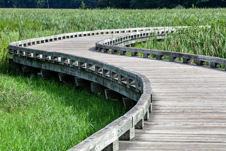 High angle view of bridge on field