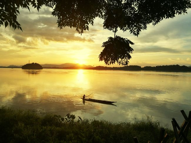 Tree Water Sky Sunset Scenics - Nature Beauty In Nature Tranquility Reflection Tranquil Scene Nature Plant Sun Environment Cloud - Sky Nautical Vessel Landscape Outdoors Tropical Tree Lagoon Guwahati India Guwahatimetro Assam, India Sea