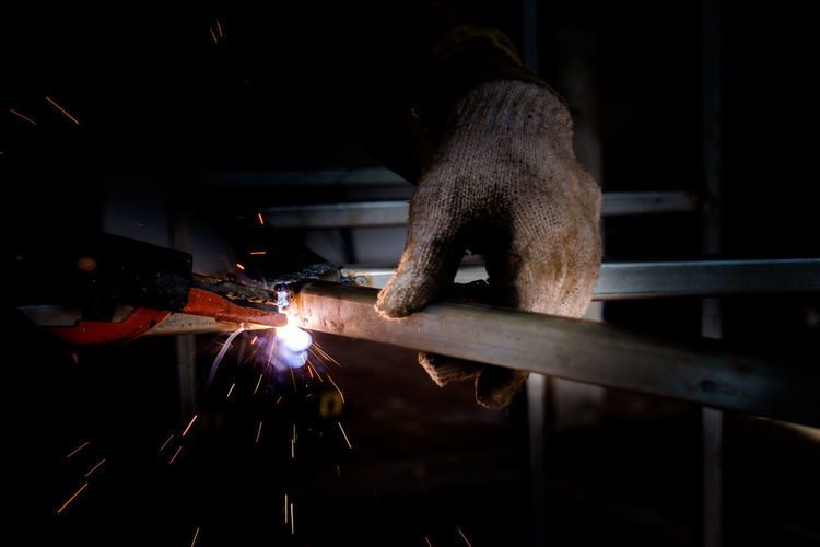 Close-Up Of Welder At Work