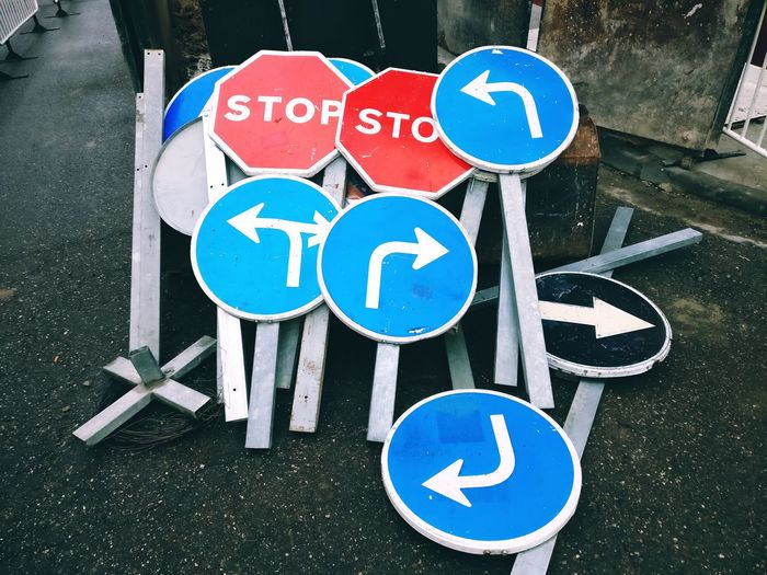 Traffic Turn Signal Stop Sign Road Sign Communication Guidance Blue Road Street Close-up Parking Sign Information Symbol Arrow Sign Traffic Arrow Sign One Way Arrow Symbol Signboard Information Sign A New Perspective On Life