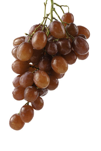 Close-up of grapes hanging on white background