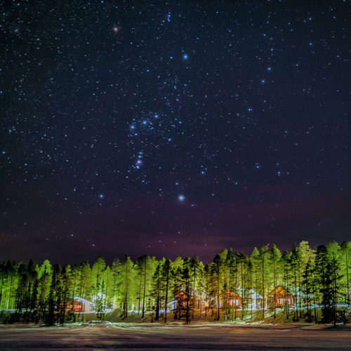 Stars Winter Lapland Finland Night Forest Forest Night Photography Night Sky