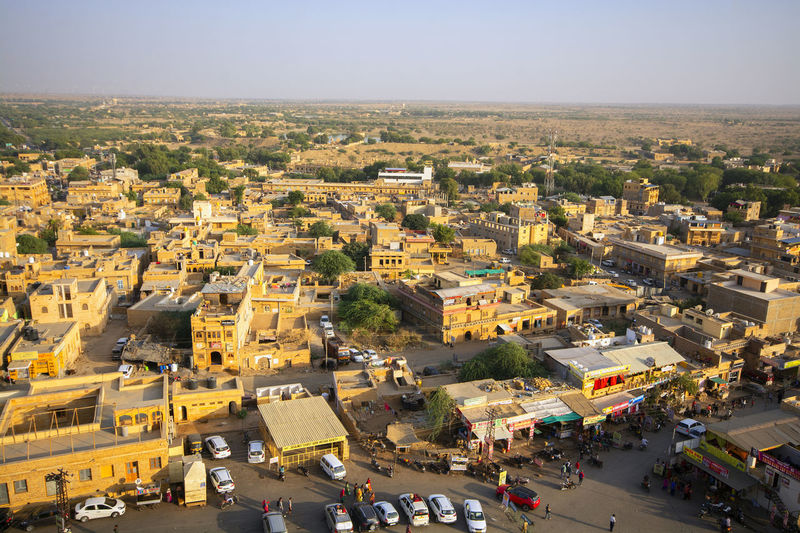 Jaisalmer Rajasthan India City Architecture High Angle View Transportation Building Exterior Car Mode Of Transportation Motor Vehicle Sky Crowd Day Built Structure Nature Land Vehicle Building Cityscape Street Road Incidental People Outdoors