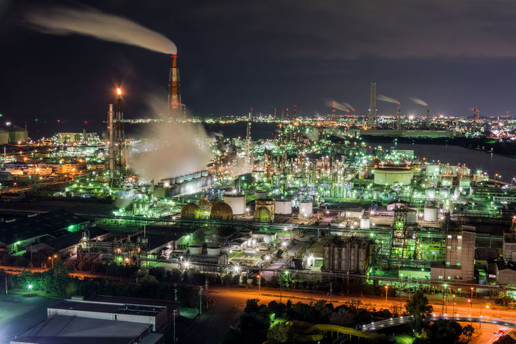 Factory night view EyeEmNewHere Chimney Factory Night View Japan Smoke Smoke Stack Factory High Angle View Night Night View Of City Petrochemical Plant