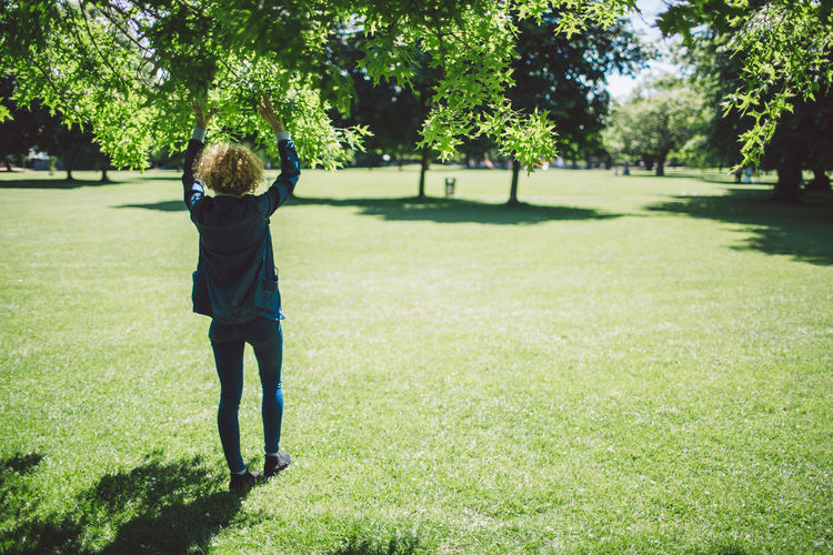 Childhood Curly Hair Day Full Length Girl Grass Green Color Growth Nature One Person Outdoors People Real People Rear View Sunlight Tree