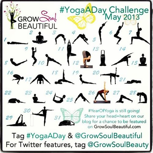 I'm going to attempt the YogaADay Challenge Motivation May2013 @GrowSoulBeatiful