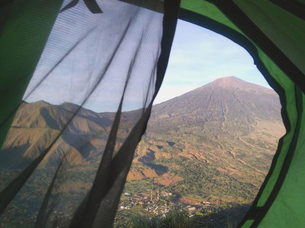 View from my tent Mountain Landscape Nature No People Scenics Day Outdoors Beauty In Nature Sky Photography Takenbyme Indonesia Photography  Nature Travel Destinations Tranquility Beauty Wonderful Indonesia Lombok Explorelombok Village Rinjanimountain Sembalun Tent Camping Mountainlife