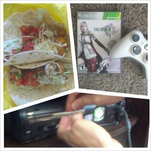 All I wanted to do was play #finalfantasyxiii and eat #shrimptacos with Sean but our #Xbox360 disc tray is jammed yet again. We're trying to trouble shoot it but now luck...we may have to take the thing apart. I'm thinking the magnet might be dirty again. Wtfgo Shrimptacos Gaming Gamingcouple Xbox Broken Foodie Foodporn Gamer Xbox360 Foodstagram Finalfantasy FinalFantasyXIII Wtfgamersonly Ffxiii FF13 FinalFantasy13