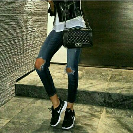 Nike Shoes Leatherjacket Jean Enjoying Life