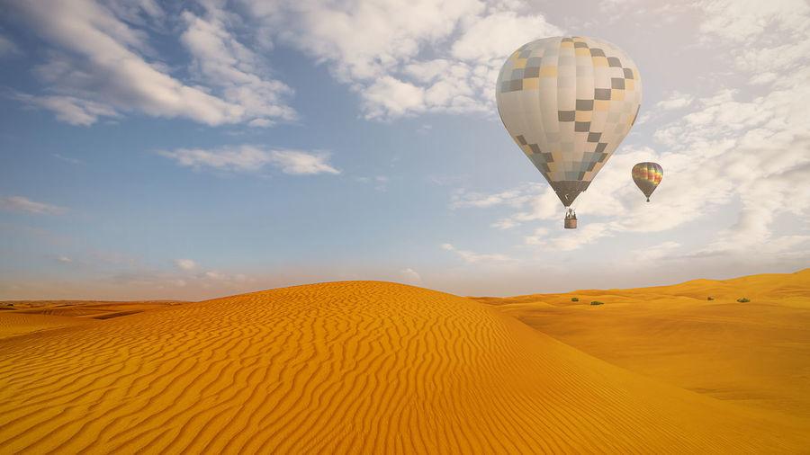 View of hot air balloon in desert