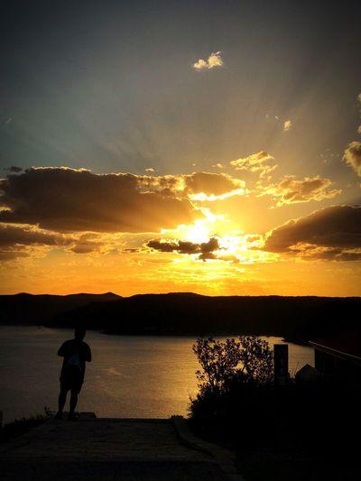 Sunset Lighthouse Sea Shadow
