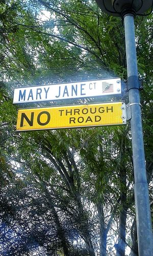 Adelaide, South Australia WTF Check This Out Weed Blunt Pot DOPE Stoned Unusual Street Names Mary Jane Street Name Signs Mary Jane ❤ MaryJane Streetnames Sweet Mary Jane Street Signs Marijuana Streetname Sign Street Names  Signs Street Name Signs_collection Mary Jane Ct No Thru Road Sign, Sign, Everywhere A Sign NoThroughRoad Street Name Sign Marijane No People
