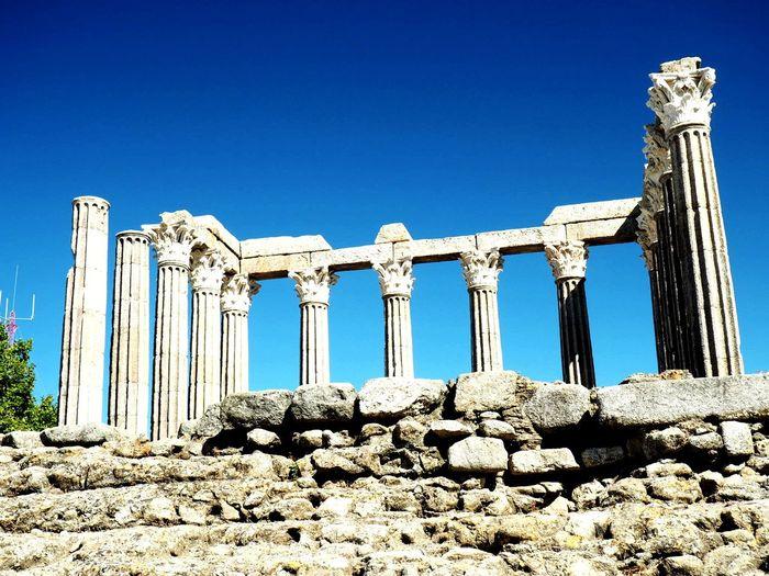 Roman Temple Templo De Diana Évora  EyeEm Selects Ancient Civilization Clear Sky Blue Architectural Column King - Royal Person Ancient Sunlight Old Ruin History Sand Archaeology