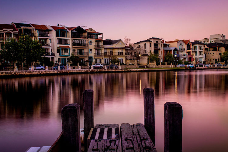 Claisebrook Cove at Dusk Australia Claisebrook Cove Perth Architecture Building Building Exterior Built Structure City Clear Sky Dusk East Perth House Nature No People Reflection Residential District River Sky Sunset Transportation Water Waterfront