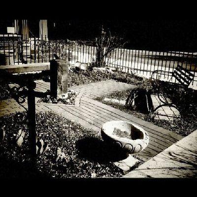 Black and white sundial Frontgarden Dimmicklibrary 1893 Mauchchunk poconos cobblestone cross sundial bench birdbath rail wroughtiron fence finials gothic Victorian