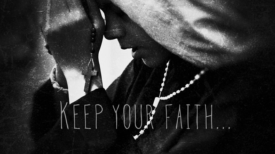 Keep your faith Photography Darkness B&w Photography Check This Out B&w Saint Effects College Work Faith Holly