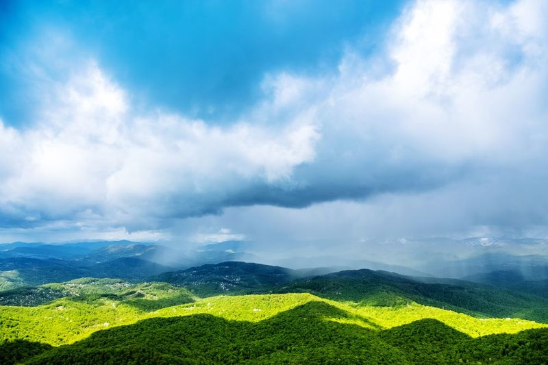 Hills Green Color Blue Sky Cloud - Sky Beauty In Nature Nature Outdoors Landscape Sky Tranquil Scene Green Color Scenics Day Tree Freshness