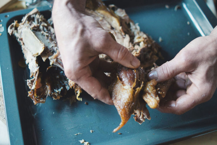 Close-up of hand preparing thanksgiving chick