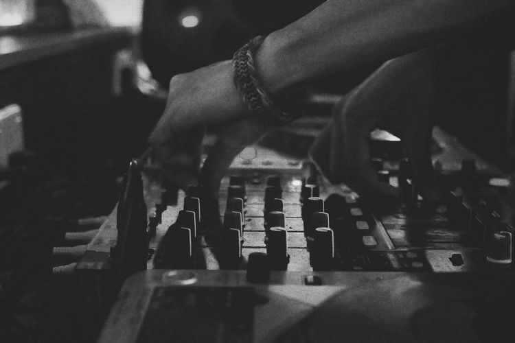 Human Hand Indoors  Lifestyles Arts Culture And Entertainment Close-up Bnw Blackandwhite Dj DJing Soundconsole Music