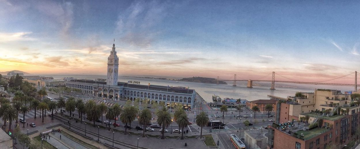 The Embarcadero at Sunset . HDR San Francisco City After Work Walking Around Panorama