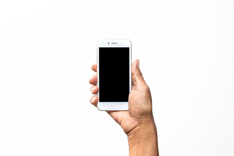 Blank Close-up Communication Copy Space Holding Human Body Part Human Hand Mobile Phone Oldman One Person People Portability Portable Information Device Smart Phone Studio Shot Technology White Background Wireless Technology